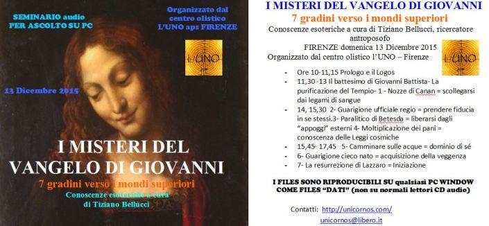 MISTERI VANGELO GIOVANNI CD copertina foto