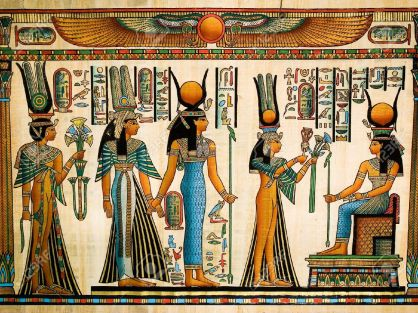13203535-egyptian-papyrus-depicting-queen-nefertari-making-an-offering-to-isis-stock-photo